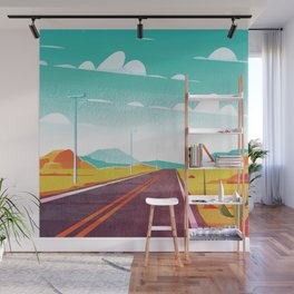 Life is a Highway Kitschy Vintage Retro Watercolor Mid Century Style Wall Mural