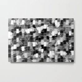 BRICK WALL SMUDGED (Black, White & Grays) Metal Print