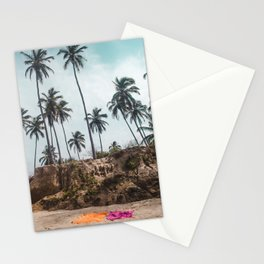 Two towels on the white sand of a beach in Parque Tayrona, Colombia, under tall palm trees Stationery Cards