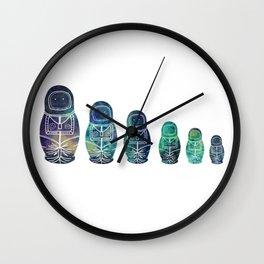 Galaxy Inside Astronaut Nesting Dolls Wall Clock