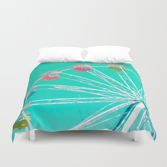 Minty Ferris Wheel of Happiness Duvet Cover