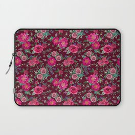 Burgundy Floral Thanksgiving , fall & winter floral in watercolor Laptop Sleeve