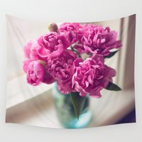 peony Wall Tapestries featuring Peony by Jenny Ardell
