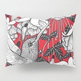 Hummingbird and fuchsia, red background Pillow Sham