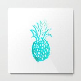 Tropical Pineapple Watercolour Metal Print