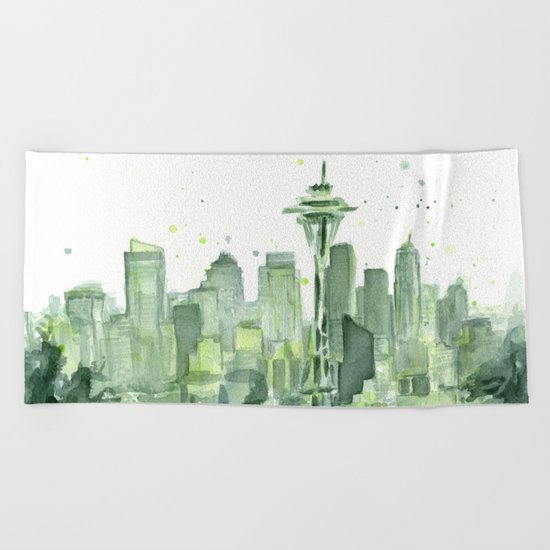 Seattle Watercolor Painting Beach Towel