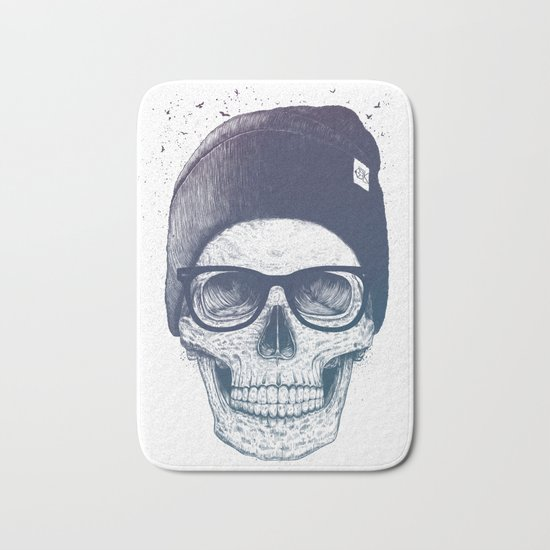 Color skull in a hat Bath Mat