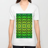green pattern V-neck T-shirts featuring Green pattern. by Assiyam