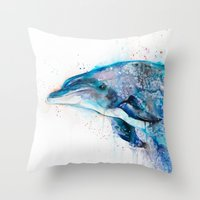 dolphin Throw Pillows featuring Dolphin  by Slaveika Aladjova