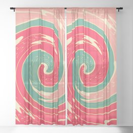 Big red wave Sheer Curtain