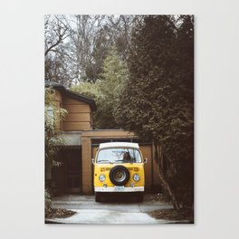 Yellow Van Ready For Road Canvas Print