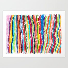 Coloured crayon stripes Art Print