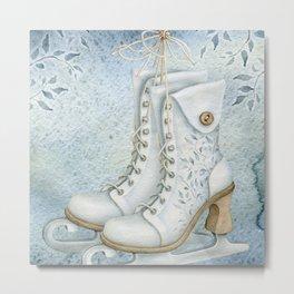 Christmas vintage ice skating #1 Metal Print