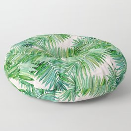 Green palm leaves on a light pink background. Floor Pillow