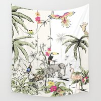 jungle Wall Tapestries featuring Jungle by Annet Weelink Design