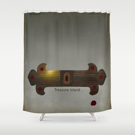 Treasure Island Minimal Poster Shower Curtain