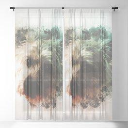 Cairn Terrier Digital Watercolor Painting Sheer Curtain