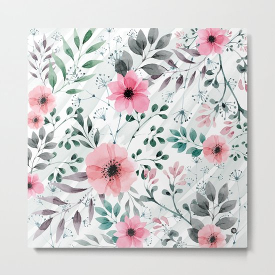 Illustration watercolor flowers and plants Metal Print