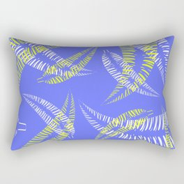 Pattern of white and yellow palm leaves on a blue background. Rectangular Pillow