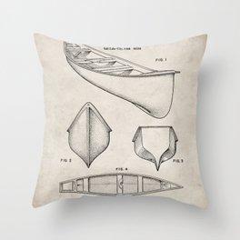 Canoe Patent - Kayak Art - Antique Throw Pillow