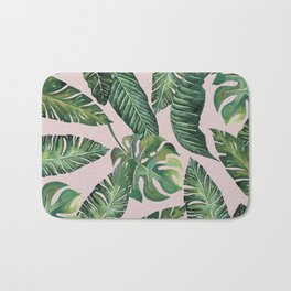 Jungle Leaves, Banana, Monstera Pink #society6 Bath Mat