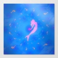mermaids Canvas Prints featuring mermaids by Laura Santeler