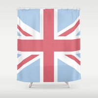 union jack Shower Curtains featuring Union Jack by Alesia D