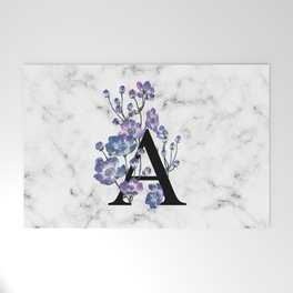 Letter 'A' Anemone Flower Typography Welcome Mat