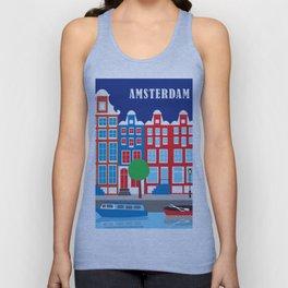 Amsterdam, Netherlands - Skyline Illustration by Loose Petals Unisex Tank Top
