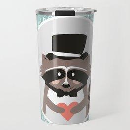 Racoon Heart Robber  Travel Mug