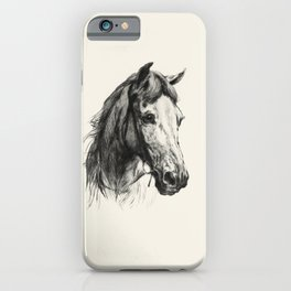 Horse Portrait Drawing by Heywood Hardy iPhone Case
