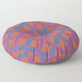 Blue Purple Dark Orange Minimal Flower Pattern V9 Accent Shades To Pantone 2021 Colors of the Year Floor Pillow