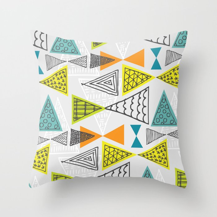 Geometric Mid Century Modern  Triangles Throw Pillow