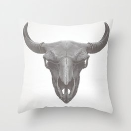 American Bison Skull Throw Pillow