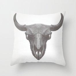 American Bison Skull Throw Pillow
