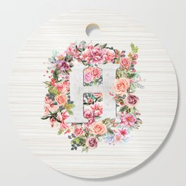 Initial Letter H Watercolor Flower Cutting Board