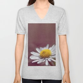 Daisy small flower macro with purple background copy space Unisex V-Neck