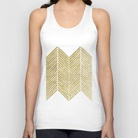 gold foil Tank Tops featuring Gold Foil Chevron by Berty Bob