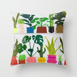 Plants on the Shelf in Gray + White Wood Throw Pillow