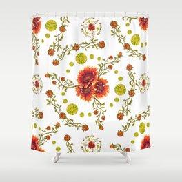 The Circle of Gaillardia Flowers Shower Curtain