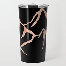 MOUNTAINS Rose Gold on Black Travel Mug