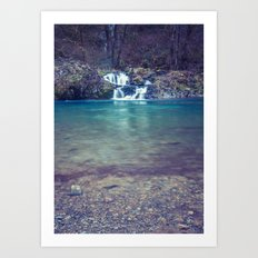 Waterfall Nature Water - Teal Blue Waterfall Cove Art Print