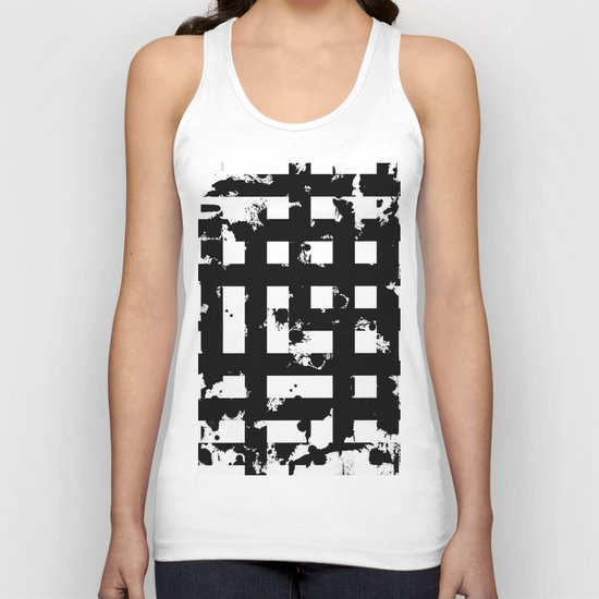 Splatter Hatch - Black and white, abstract hatched pattern Unisex Tank Top