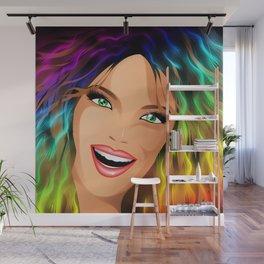 Happy Girl Rainbow Fashion Hair Wall Mural