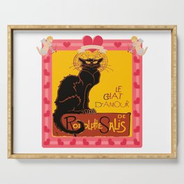 Le Chat Noir D'Amour Heart And Cherub Border Serving Tray