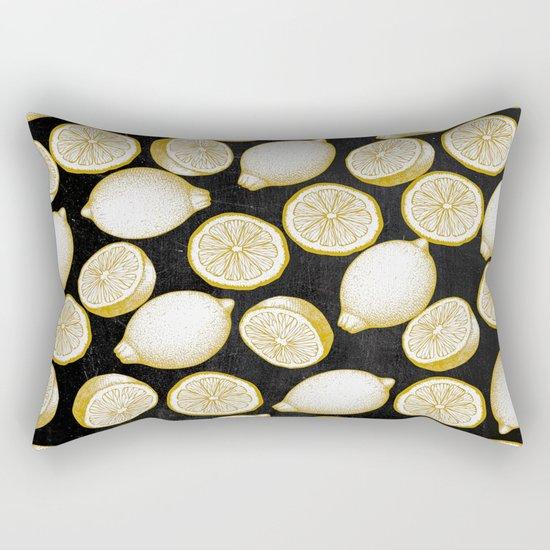 Lemons on black background Rectangular Pillow
