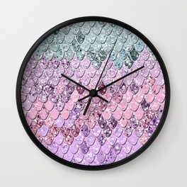 Mermaid Scales with Unicorn Girls Glitter #4 #shiny #pastel #decor #art #society6 Wall Clock