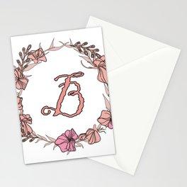 Letter B Rose Pink Initial Monogram - Letter b Stationery Cards