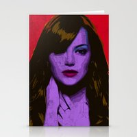 emma stone Stationery Cards featuring Emma Stone by Bolin Cradley Art