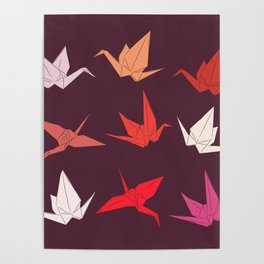 Japanese Origami paper cranes sketch, symbol of happiness, luck and longevity Poster